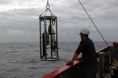 Optics rig being deployed off the RRS James Clark Ross