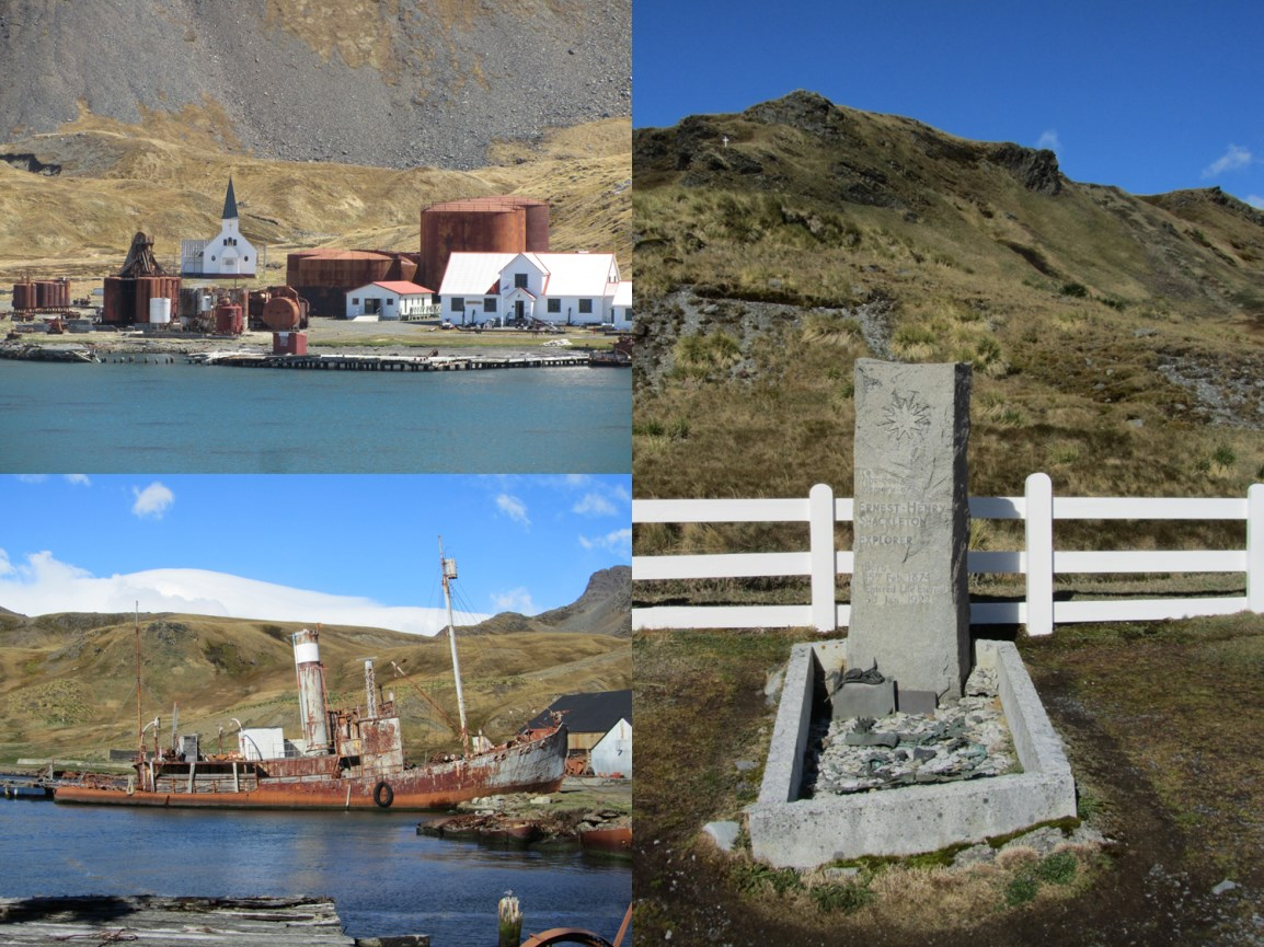 Relics of the whaling station at Grytviken, and Sir Ernest Shackleton's grave.