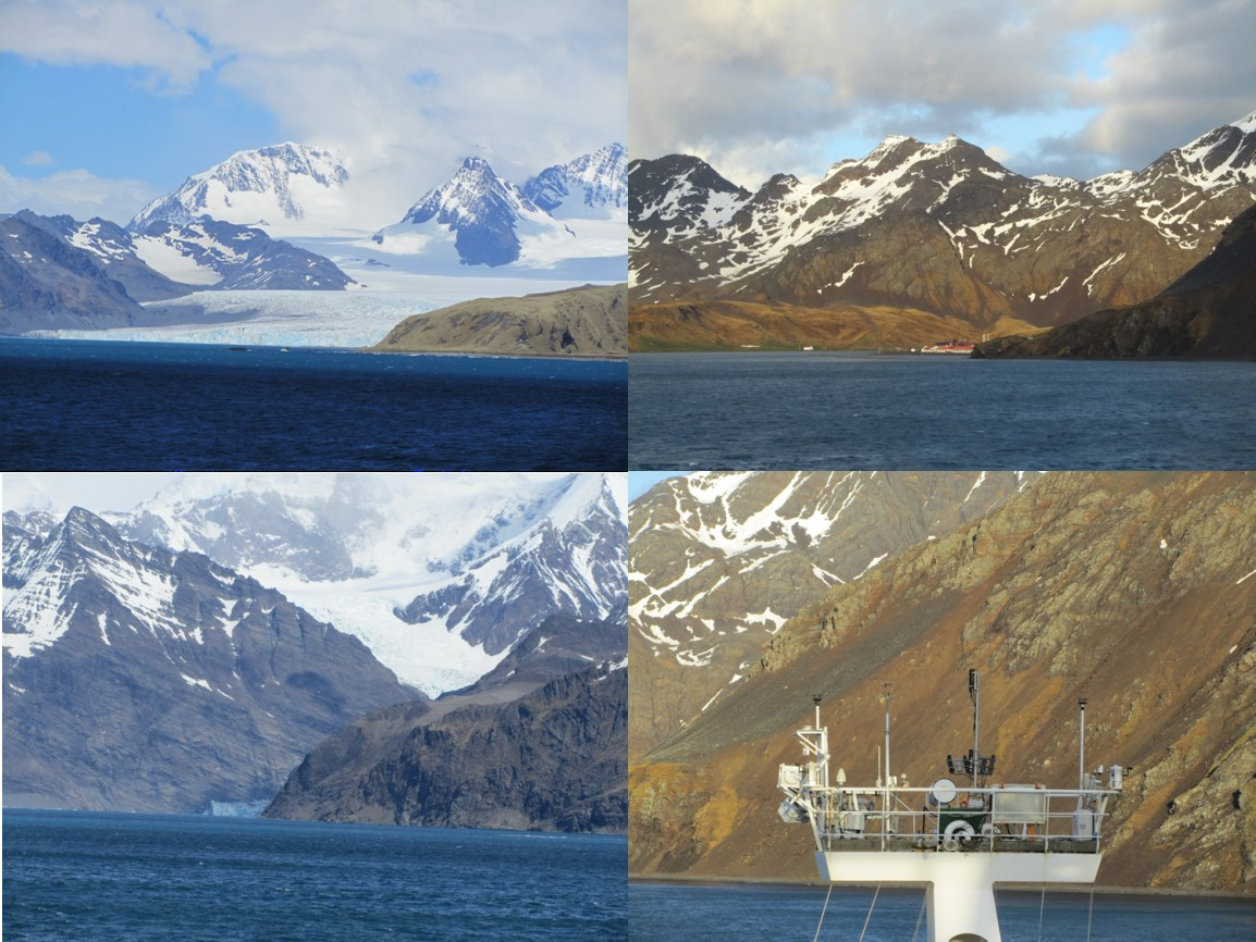 The snow-capped mountains, fjords and bays of South Georgia. Top right – Red roofs of the British Antarctic Survey base, nestled in the bay. Bottom right – RRS Discovery met platform and AMT4SentinelFRM sensors measuring off South Georgia (Photographs taken by Dr. Gavin Tilstone).
