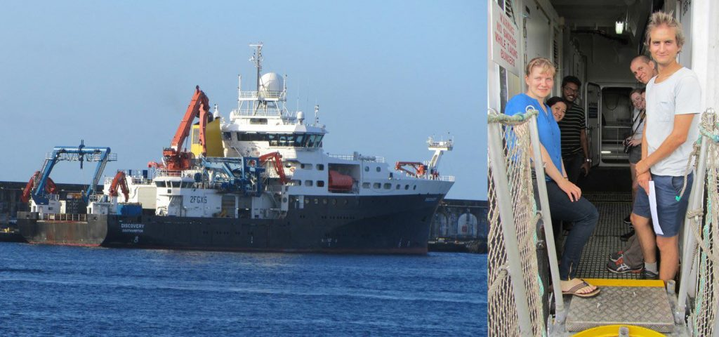 RRS Discovery in Punta Delgada, Azores, where Quinten Van Hellemont and Krista Alikas disembarked the ship. (PML)