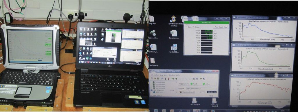 Data from the optical sensors are transferred through a mini deck unit to laptops in the met laboratory. (PML)