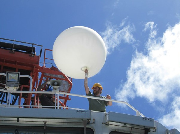 Launching a meteorological weather balloon