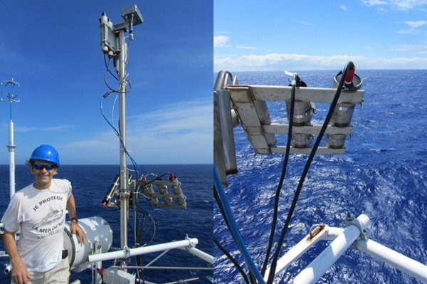 Left: a purpose-built stainless steel frame used to position all the optical sensors at the same viewing geometry. Right: the sensors have an unimpeded view of the surface of the ocean and look at the same patch of water. (PML)